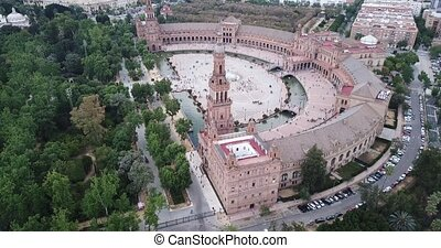 Plaza de Espana at Sevilla with park, view from drone, Spain...
