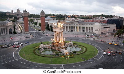 Plaza de Espana in Barcelona, Catalonia, Spain. - Fountain...