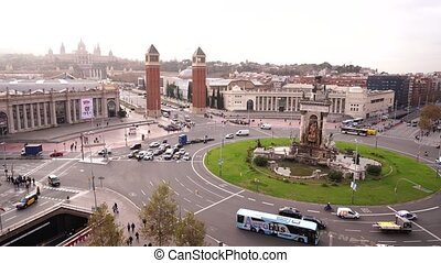 Plaza de Espana in Barcelona, the square of the capital of Catalonia.