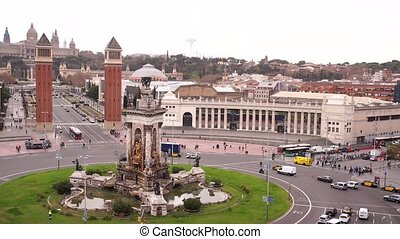 Plaza de Espana in Barcelona, the square of the capital of ...