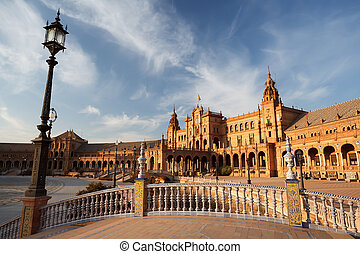 Plaza de Espana in Sevilla, Spain - Plaza de Espana in...