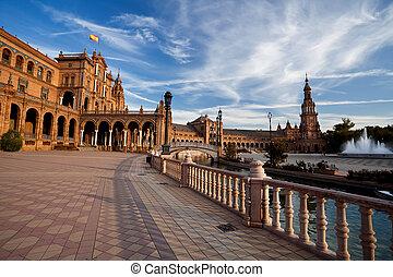 Plaza de Espana in Sevilla under blue sky, Spain