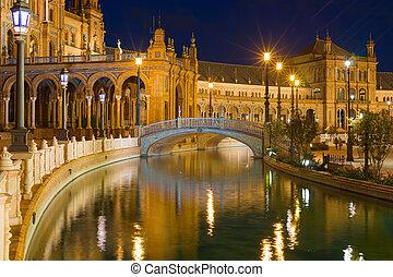 Plaza de Espana in Seville at black night