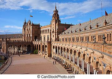 Plaza de Espana (Spain's Square) Renaissance Revival and Neo-Mudejar style pavilion in Seville, Andalusia, Spain.