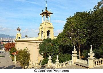 Plaza de Espanya in Barcelona, Spain.View from top of the...