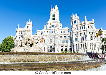 Plaza de la Cibeles (Cybele's Square) - Central Post Office (Palacio de Comunicaciones), Madrid, Spain.