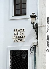 Plaza de la Iglesia Mayor sign.