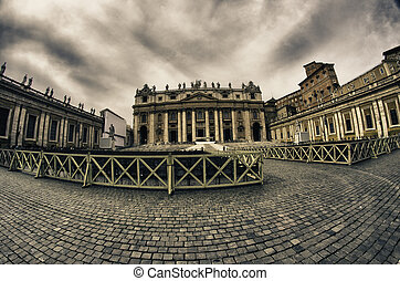 plaza, detalle, pietro, roma, arquitectura, san