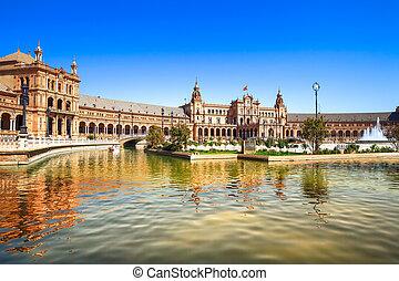 plaza espana, sevilha, andalusia, espanha, europa