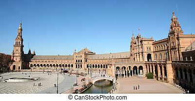 Plaza Espana, Seville - Medieval Moorish Square in Seville, ...