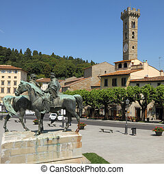 plaza, fiesole, italiano, pueblo