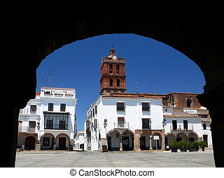 Plaza Grande de Zafra - arcaded square and tower of the...