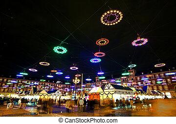 plaza, iluminado, madrid, de, alcalde, tiempo, estrellas, noche, navidad