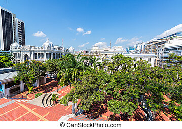 Plaza in Downtown Guayaquil - Tree filled plaza in downtown...