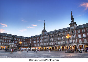 Plaza Mayor with statue of King Philips III in Madrid, Spain...