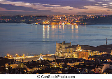 Plaza of Comerce in Lisbon and Tagus River. Lisbon, Portugal.