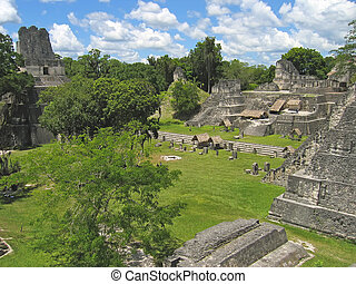 Plaza of old maya ruins in the jungle, Tikal, Guatemala -...