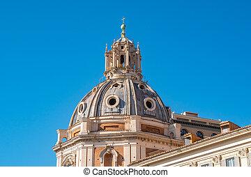 plaza, roma, chiesa, cúpula, foro, iglesias, traiano, santa,...