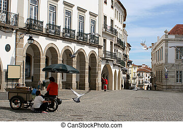 plaza scene - chestnut vendors in Evora, Portugal