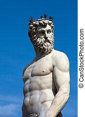 plaza, signoria, italy., neptuno, parte, estatua fuente, ...