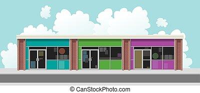 Plaza Street Facade - Store facades of a plaza facing a...