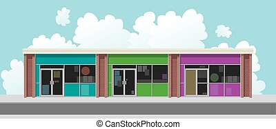 Plaza Street Facade - Store facades of a plaza facing a...