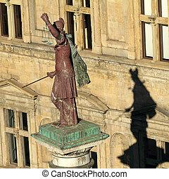 plaza, trinita, columna, escena, justicia, santa, florencia