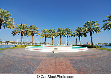 Plaza with a fountain and palm trees in St. Petersburg, Florida.