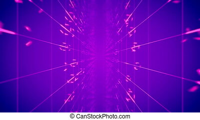 """Enigmatic 3d rendering of time portal from two moving surfaces with square meshes and rotating circles in the violet backdrop in seamless loop. It creates the mobile mood"""