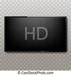 plazma, tv, hd, illustration, fond, screen., transparent,...