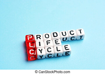 PLC Product Life Cycle written on dices on blue background