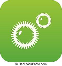 pleśń, wirus, ikona, zielony, wektor