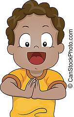 Illustration of a Young African-American Boy with His Hands Clasped Together in Request