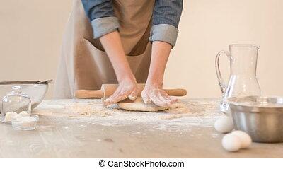 Pleasant baker rolling dough - My hobby. Pleasant baker...