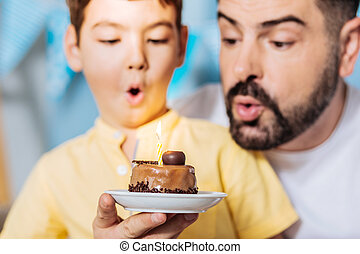 Pleasant father and son blowing out birthday candles
