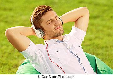 Pleasant guy relaxing.