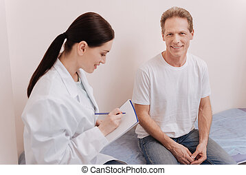 Pleasant lovely patient seeking exerts consultation