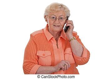 Pleasant news - Elderly woman calling with cellphone -...