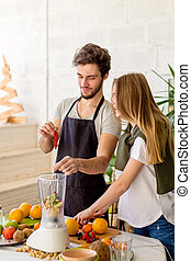 pleasant pasttime with a boyfriend. positive atmosphere in the kitchen