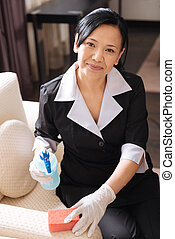 Pleasant professional hotel maid spraying cleanser on the...