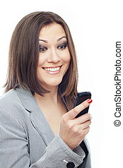 Pleasant SMS - Glad lady reading or sending SMS on a white...