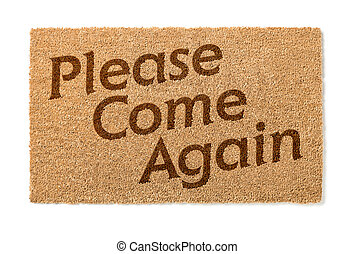 Please Come Again Welcome Mat On White