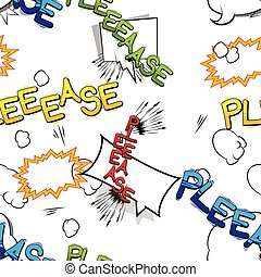 Please - Comic book style word seamless pattern.