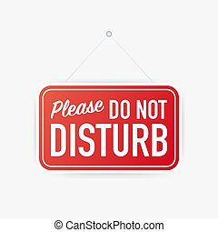 Please do not disturb hanging sign on white background. Sign for door. Vector illustration.