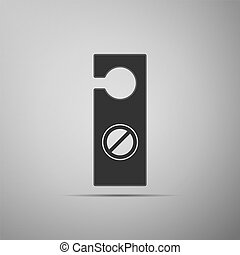 Please do not disturb icon isolated on grey background. Hotel Door Hanger Tags. Flat design. Vector Illustration