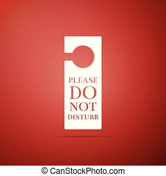 Please do not disturb icon isolated on red background. Hotel Door Hanger Tags. Flat design. Vector Illustration