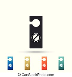 Please do not disturb icon isolated on white background. Hotel Door Hanger Tags. Set elements in colored icons. Flat design. Vector Illustration