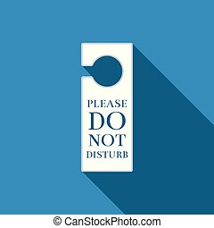 Please do not disturb icon isolated with long shadow. Hotel Door Hanger Tags. Flat design. Vector Illustration