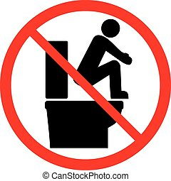 please do not stand on the toilet seat (prohibition icon)