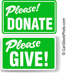 Please Donate and Give Green Sign Set - Please Donate and...